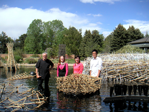 Working with Steven Talsnik to set up his Floating World Bamboo installation in Monet Pond. There was an art to attaching all the white cable ties to evoke the haiku wishes left in Japanese gardens.