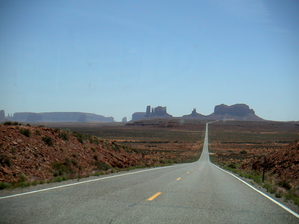 Motoring towards Monument Valley