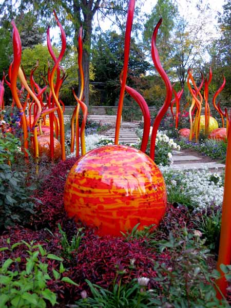 Chihuly at DBG 2014 - Saffron tower and Cattails (6)